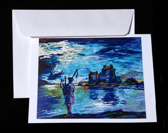 """Blank note-card of """"Piper and Castle""""; original art by Mike Turpie for The Bonnie Lass Designs."""