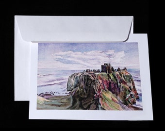 """Blank note-card of """"Dunnottar Castle""""; original art by Mike Turpie for The Bonnie Lass Designs."""
