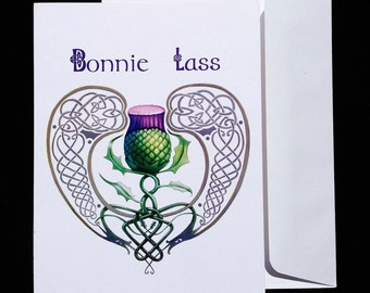 """Blank note card: """"The Bonnie Lass Thistle"""""""