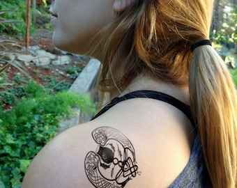 Temporary tattoo- Bonnie Lass Thistle and heart  design
