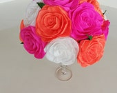 Centerpieces Table Pink Orange white Fiesta Paper Flawers Party Marigold Hindu Henna Mehndi Wedding Indian Decor Mexican bridal baby shower