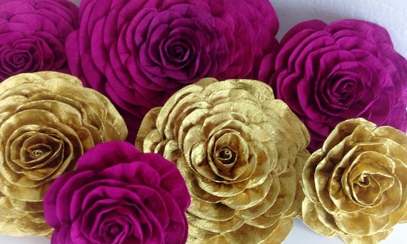 12 large crepe paper flowers wall decor giant backdrop sangria etsy image 0 mightylinksfo