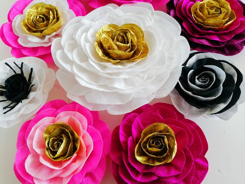 12 Large Giant Paper Flowers White Black Pink Gold Kate Wall Decor Bridal Spade Party Decoration Baby Shower Bachelorette Backdrop Wedding