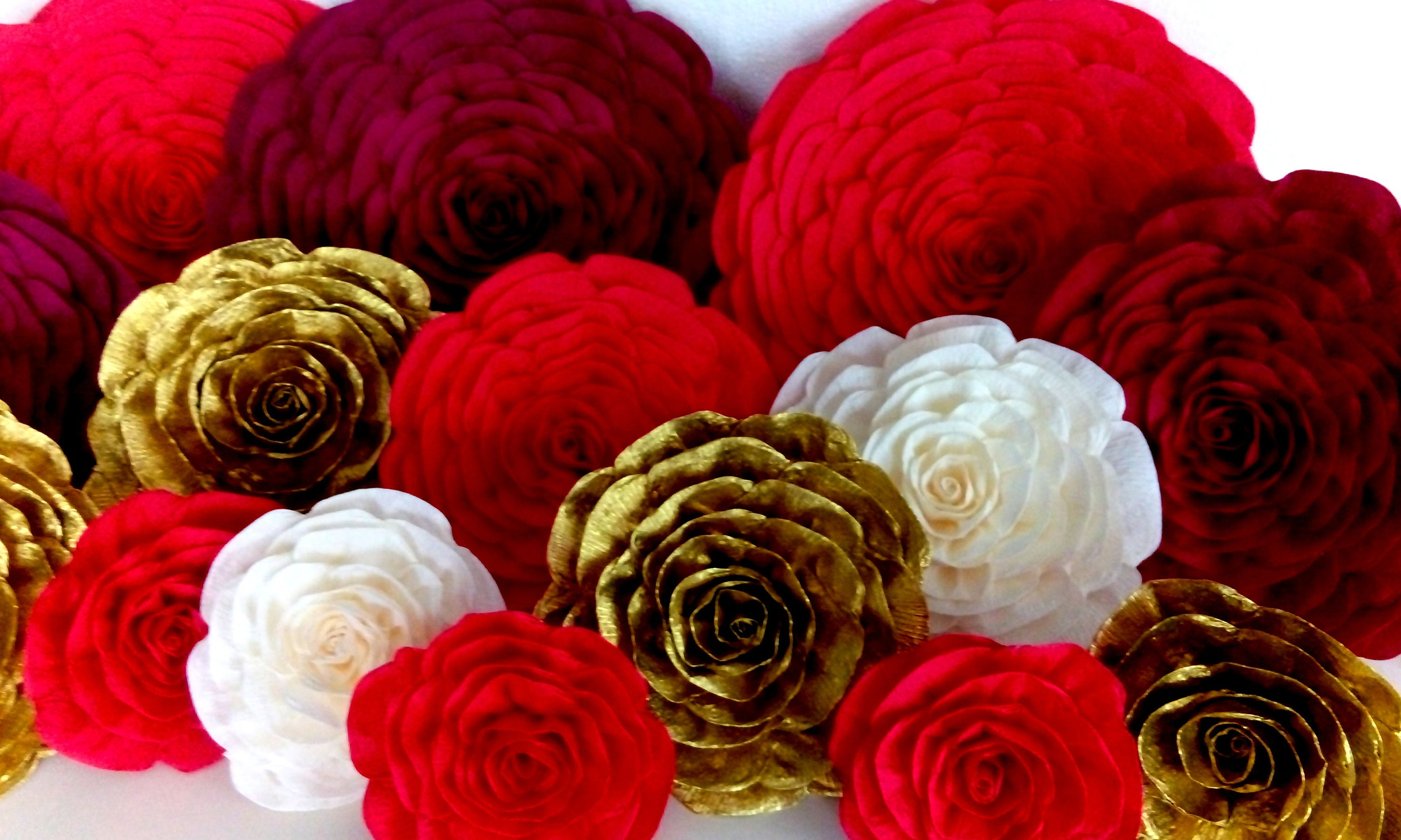 Royal Red Gold Burgundy 12 Large Paper Flowers Wall Decor Sangeet Bridal Baby Shower Indian Wedding Party Photo Backdrop Elena Avalor