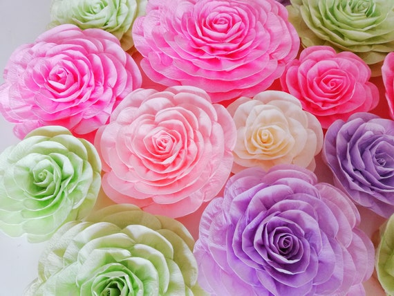 10pc Coral Peachy Pink Teal Paper Flowers Wall D\u00e9cor Wedding Bridal Paper Roses Nursery Backdrop Graduation Baby Shower 1st Birthday Party