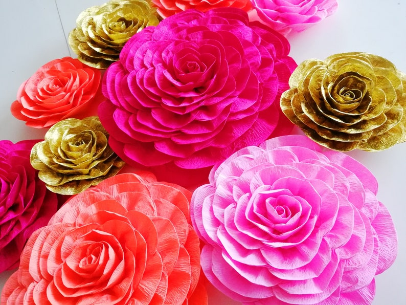 Red Pink Gold 12 Large Paper Flowers White Nursery Wall Decor Indian Wedding Bridal Baby Backdrop Bohemian Arabia Night Party Decorations