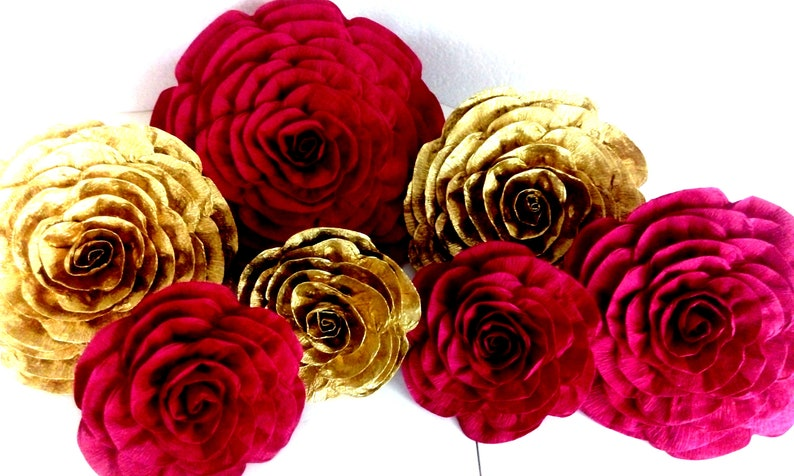 Royal Red Gold Black 10 Large Paper Flowers Wall Decor Bridal Baby Shower Wedding Party Supplies Sweet 16 Backdrop Elena Avalor Step Repead