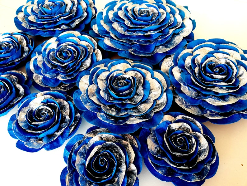 Blue Silver Royal Navy Large Paper Flowers Wall Prince Baby Etsy