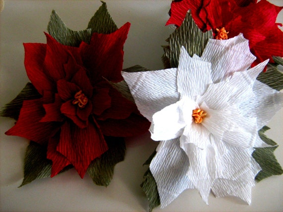 10 Large Paper Flowers Wall Decor Poinsettia Royal Red White Gold Christmas New Year Backdrop Centerpiece Flowers Wedding Baby Shower By Flower4you Catch My Party