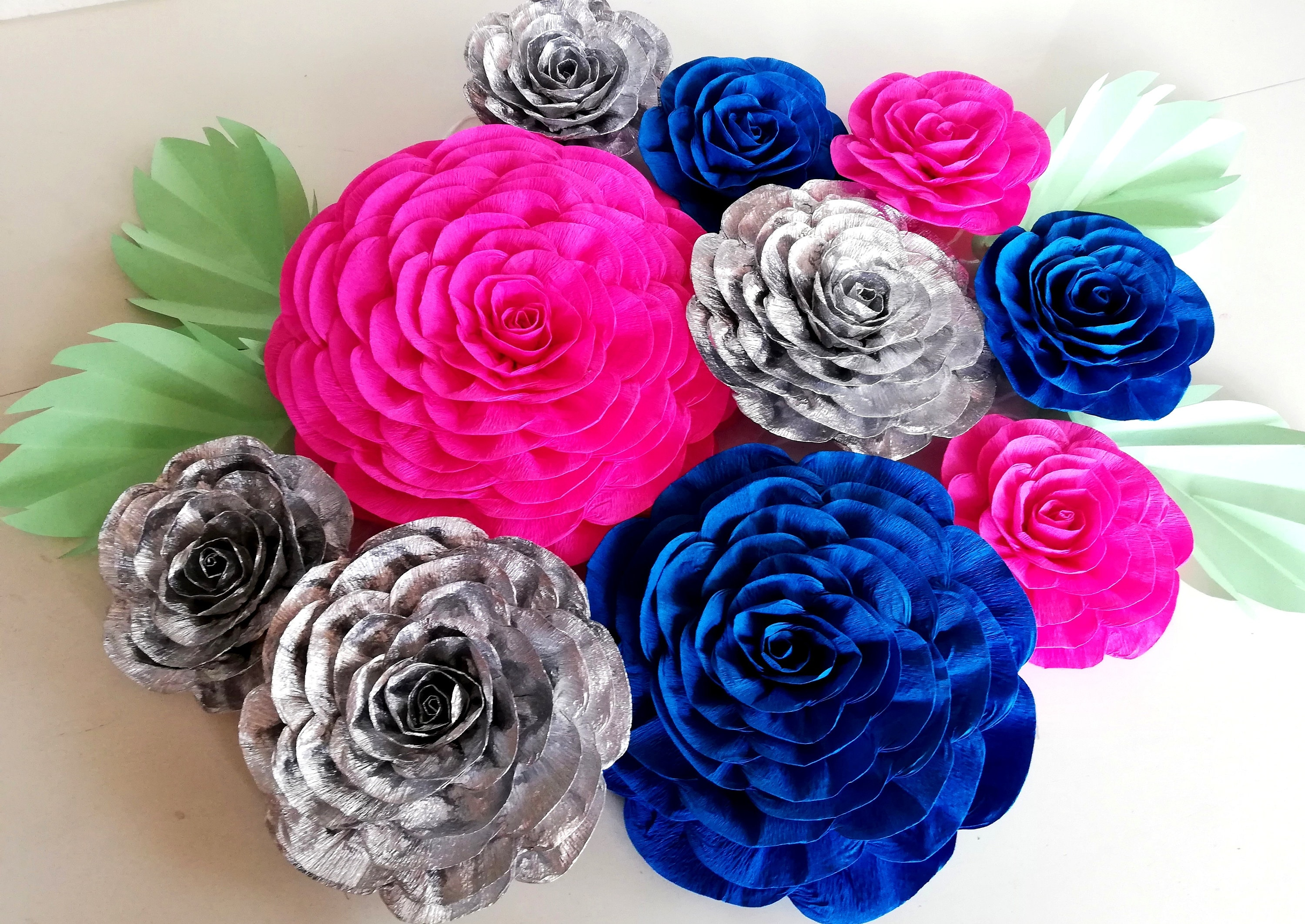 Royal Blue Silver Navy Pink Wall Decor Paper Flowers Blue Room Etsy