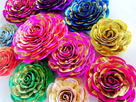 10 paper flowers table decor mehndi backdrop Royal red gold baby shower  moroccan arabian nights sangeet Indian Wedding Hindu Bollywood Party
