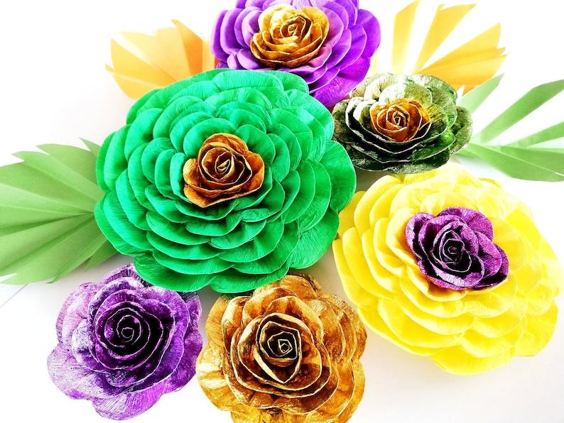 10 Large paper flowers wall nursery decor Gold Green Purple Yellow Photo Backdrops dholki mehndi sangeet Decor Birthday Party Mardi Gras