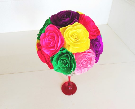 Centerpiece Mexican Fiesta Paper Flowers Table Rainbow Coco Party