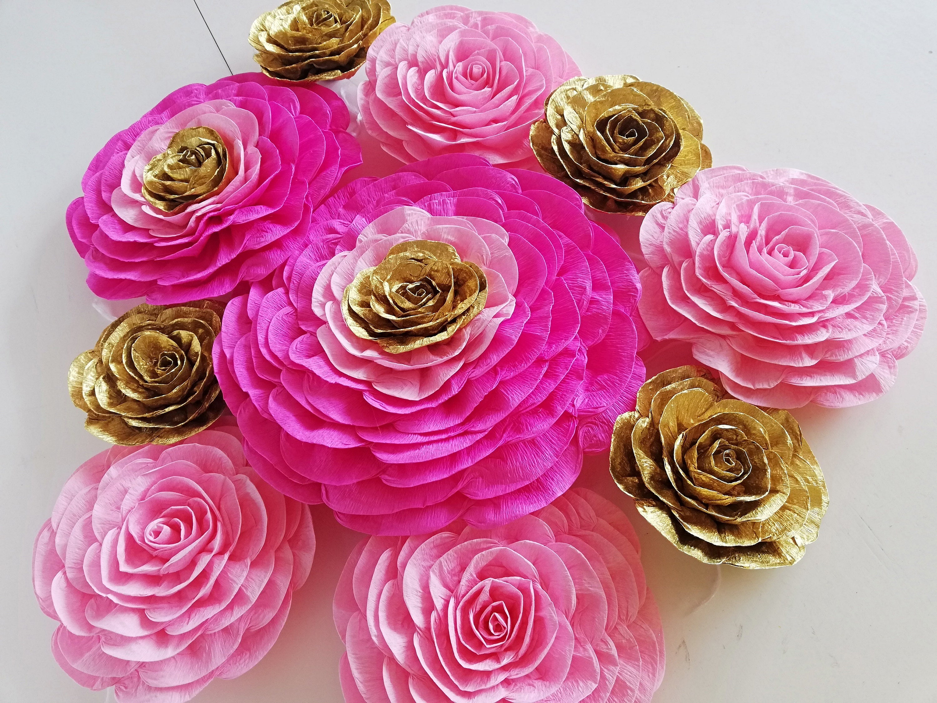 Large Crepe Paper Paper Flowers Wall Decorations Hochzeit Etsy