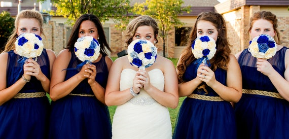 Navy Royal Blue white Silver paper flowers bridal bouquet bridesmaids  keepsake Roses Blue Wedding Bouquet peacock beach Wedding paper bouque