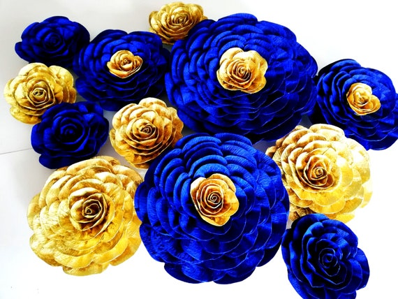 Royal Blue Gold Navy Prince Boy Large Paper Flowers Wall Decor Etsy