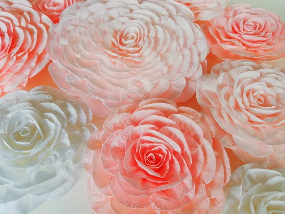 12 pink peach lavender large crepe paper flowers wall decor etsy image 0 mightylinksfo
