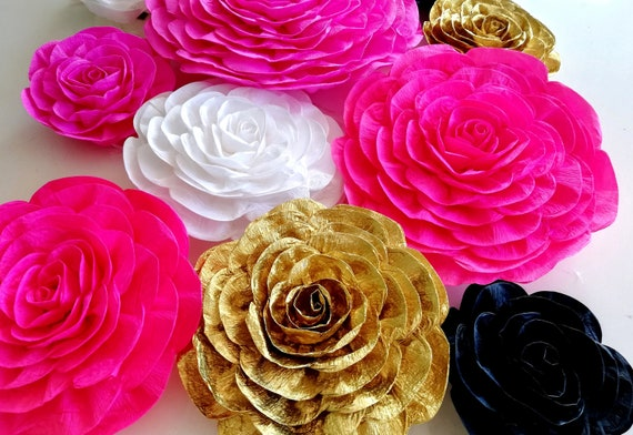 10 Large Paper Flowers Wall Decor Pink Gold White Black Party Etsy
