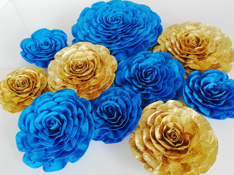 Prince Royal Navy Blue Gold Silver Boy Large Paper Flowers Etsy
