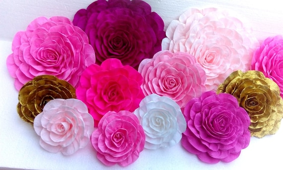 10 Paper Flowers Wall Decor Giant Large Crepe Paper Flowers Etsy