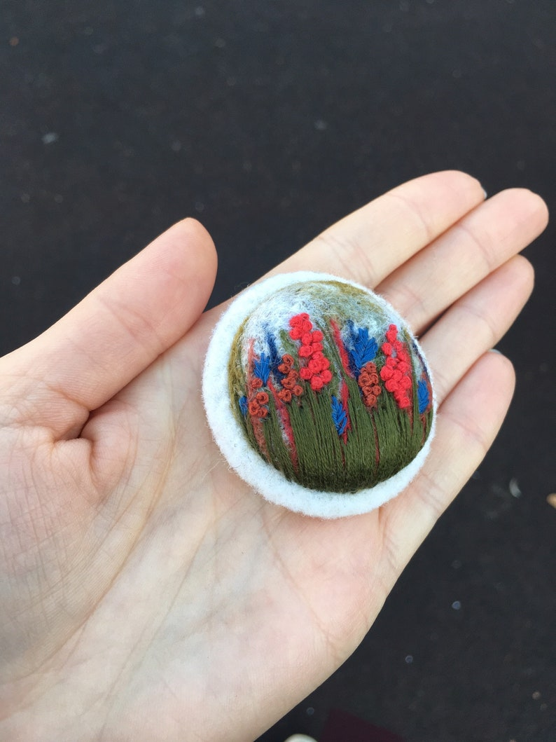 Felted flower brooch embroidered BROOCH felt brooch Tiny embroidery painting