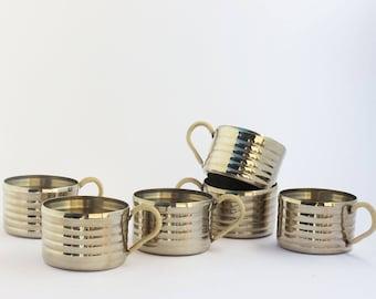 Art-Déco Set 6 Teaglasholder 1920s Vintage Glasholder Metal