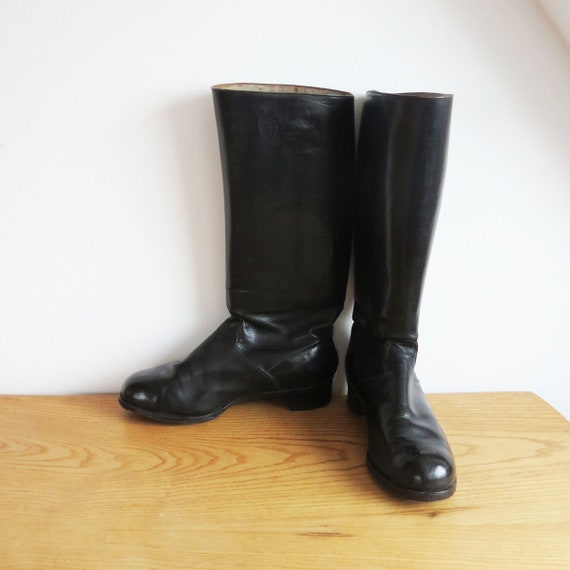 Vintage Leather Riding Boots 1940s