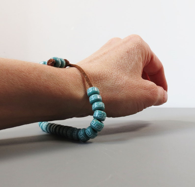 Cool 1980s Bracelet on Leather Band Turquoise Handmade Beads Loose Ceramic Beads