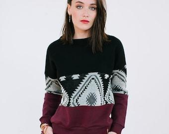 Sweater Mia Black aztec & dark red