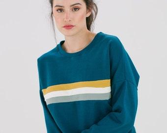Sweater Stranger stripes petrol