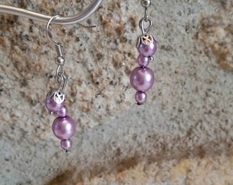 Purple earrings, earrings glass beads, romantic earrings, gift for her