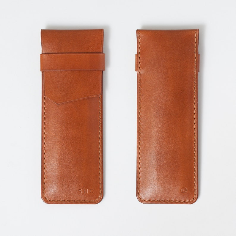 Leather pen case sleeve  - Hand stitched genuine Italian veg tan Leather *An Original Design*