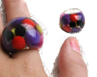1960's Lucite Statement Ring // Clear Plastic Mod Ring // Small