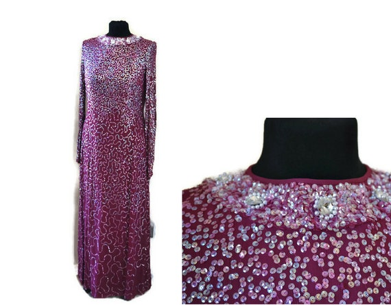 Purple Dress // Vintage 1960's Purple Beaded Eveni