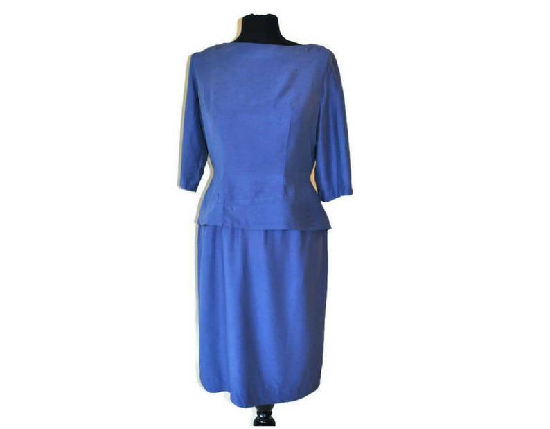 cf05df7a050 1950 s Silk Blue Wiggle Dress    Vintage Blue Peplum