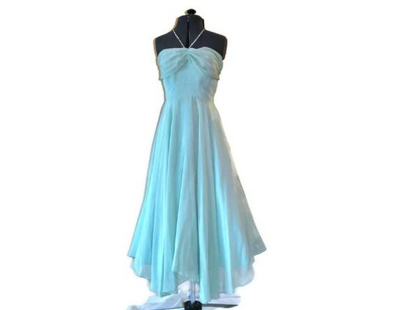 1950's Blue Halterneck Dress // Full Skirted Aqua