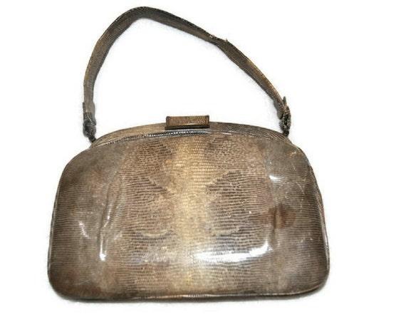 1930's Lizard Skin Handbag // Vintage Handbag // U