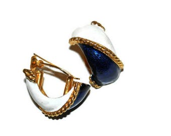 Blue and White Gold Tone Earrings // Vintage 1980's Statement Earrings Enamel