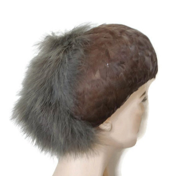 1950's 60's Brown Feather Hat // Feather Cap // Vi