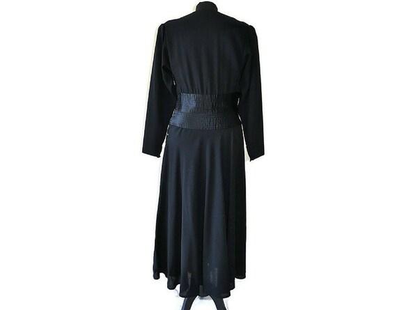Black 1930's Crepe Dress // 30's black wool dress