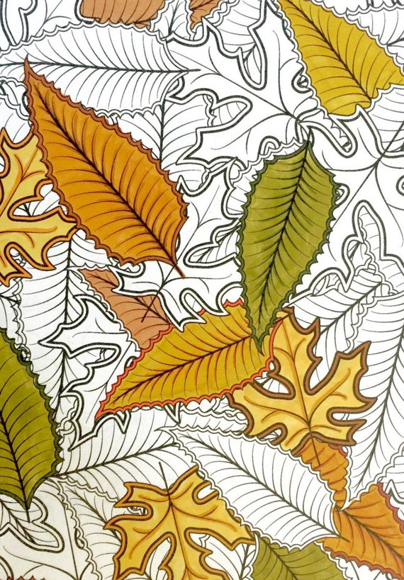 Advanced Coloring Page  Autumn Leaf Collage