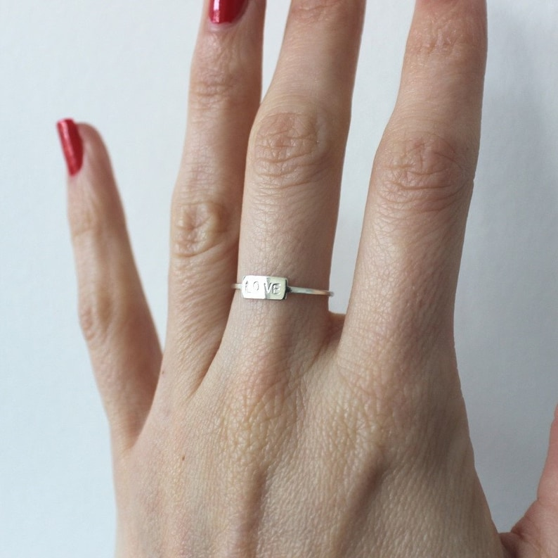 silver stamped love band love word ring Silver LOVE ring