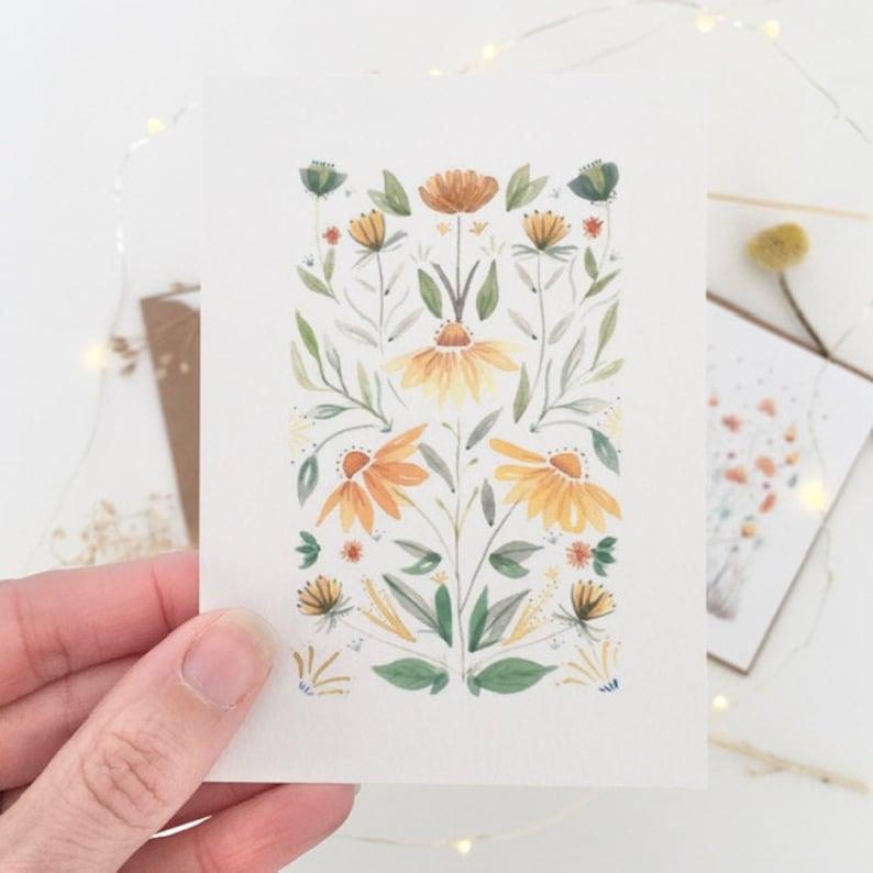 botanical illustration mini postcards Arts /& Crafts inspired notelets floral letter set