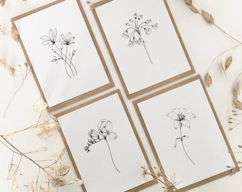 Floral postcard set, botanical postcards, illustrated postcard pack, mini art prints