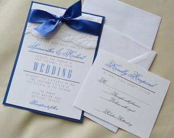 Set of 20 royal blue wedding invitation white and royal blue etsy set of 100 discount royal blue wedding invitation white and royal blue invitation lace invitation panel invitation set with rsvp filmwisefo