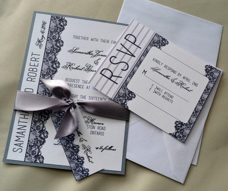 ffa08461d Romantic Lace Wedding Invitation Grey Lace Invitation Old   Etsy