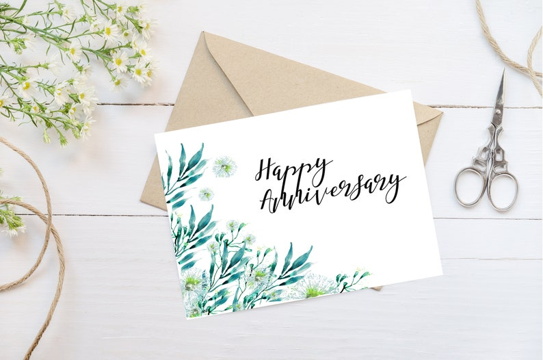 image relating to Happy Anniversary Card Printable called Content anniversary card, Content anniversary greenery card, Greeting card, Printable card
