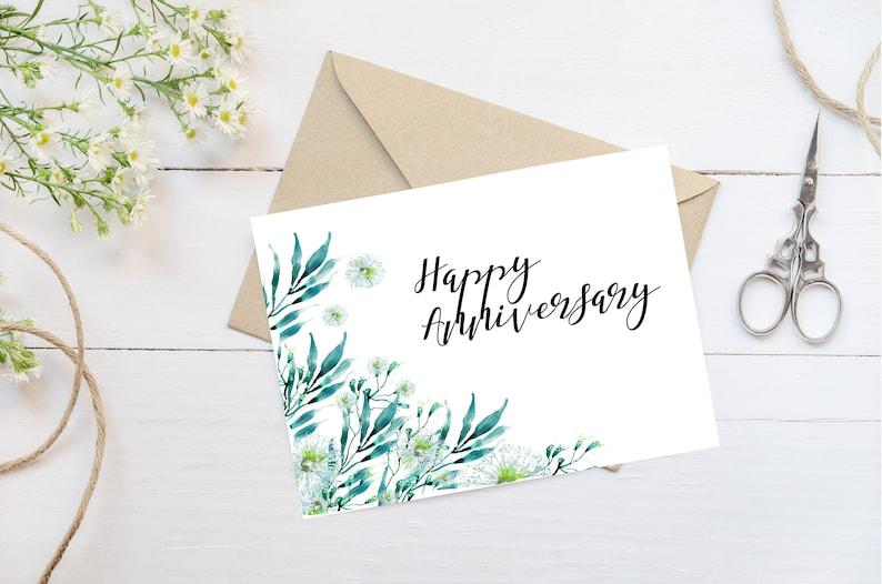 image relating to Happy Anniversary Card Printable identify Pleased anniversary card, Joyful anniversary greenery card, Greeting card, Printable card