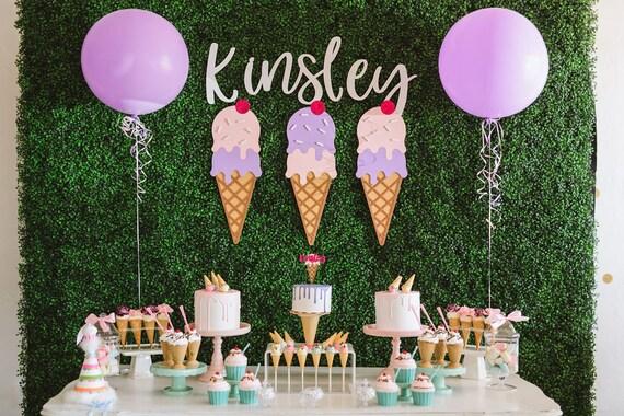 Custom Cake topper Cake Topper Ice Cream Cone Cake Topper Waffle Cone 3D Cake Topper Personalized Cake Topper, Ice Cream Party