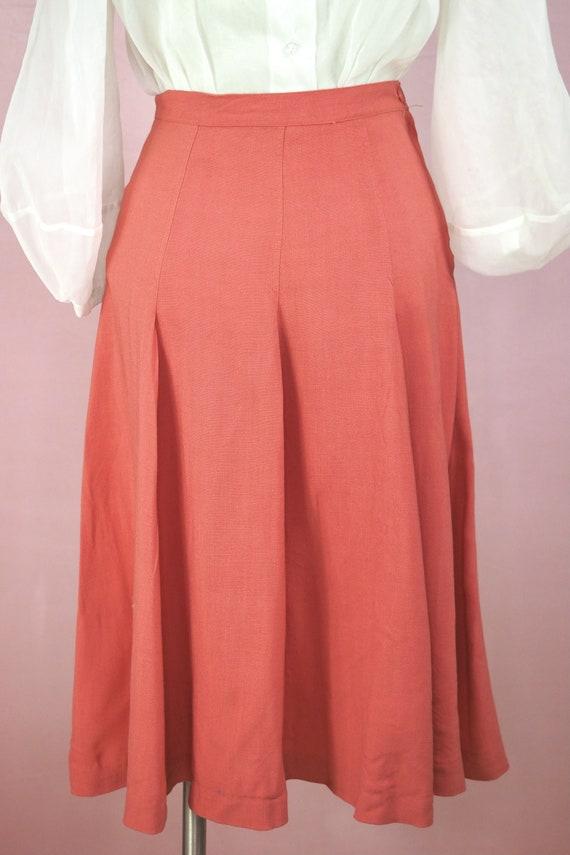 1940s Coral Gabardine Skirt